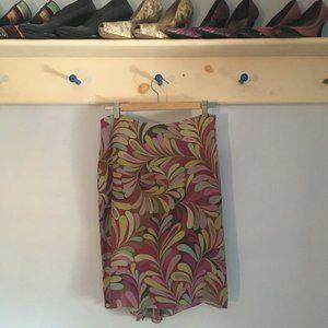 100% Silk flowy floral patterned skirt